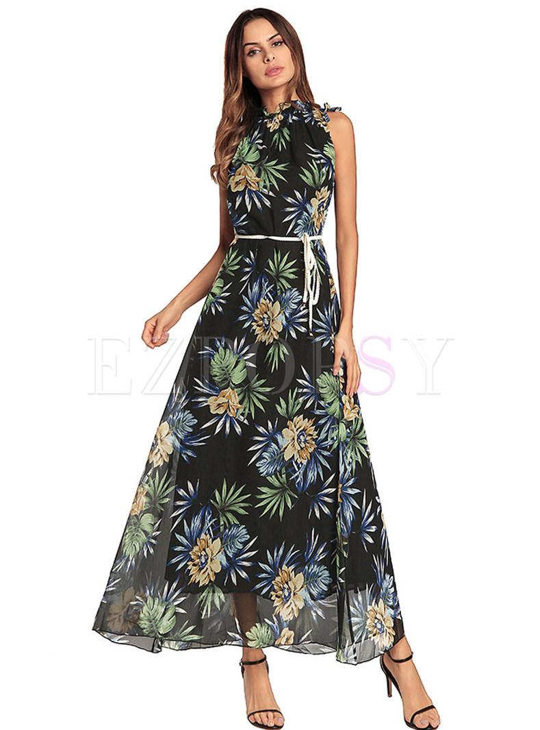 Bohemia Floral Print Falbala Collar Maxi Dress