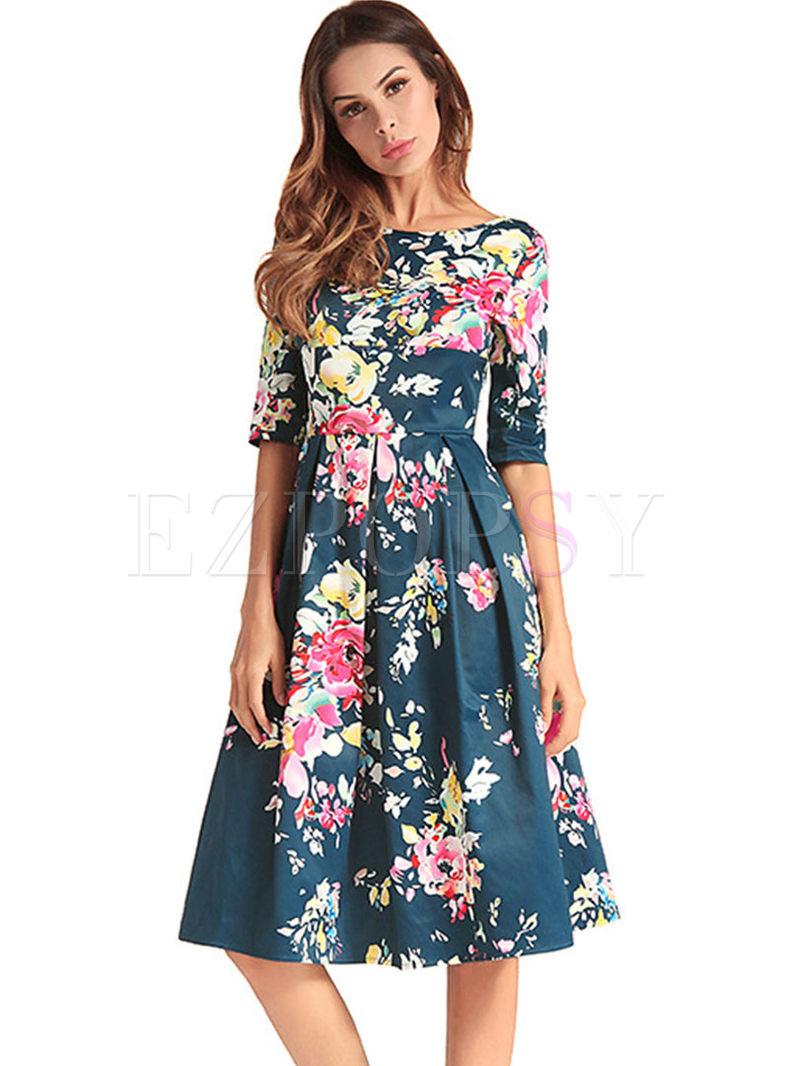 Street Flower Print Half Sleeve A Line Dress