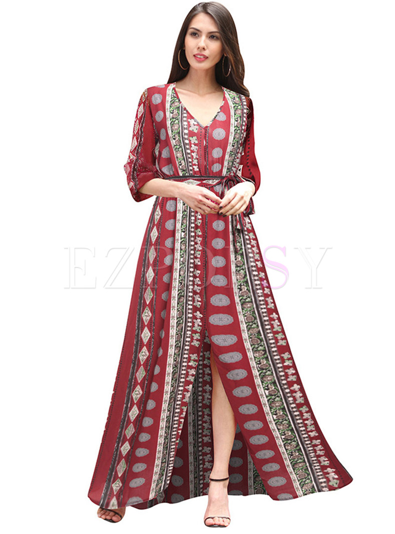 Ethnic Striped Print Split V-neck Maxi Dress
