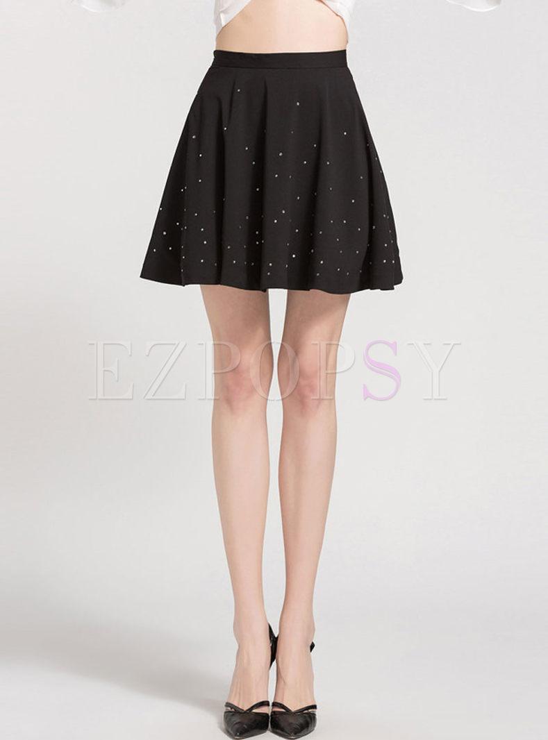 Black Chiffon Beaded A Line Mini Skirt