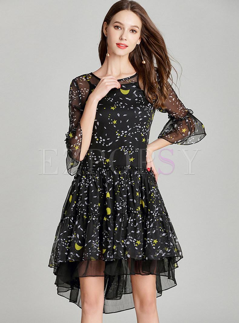 Stylish Print Ruffle Sleeve Silk Dress With Underskirt