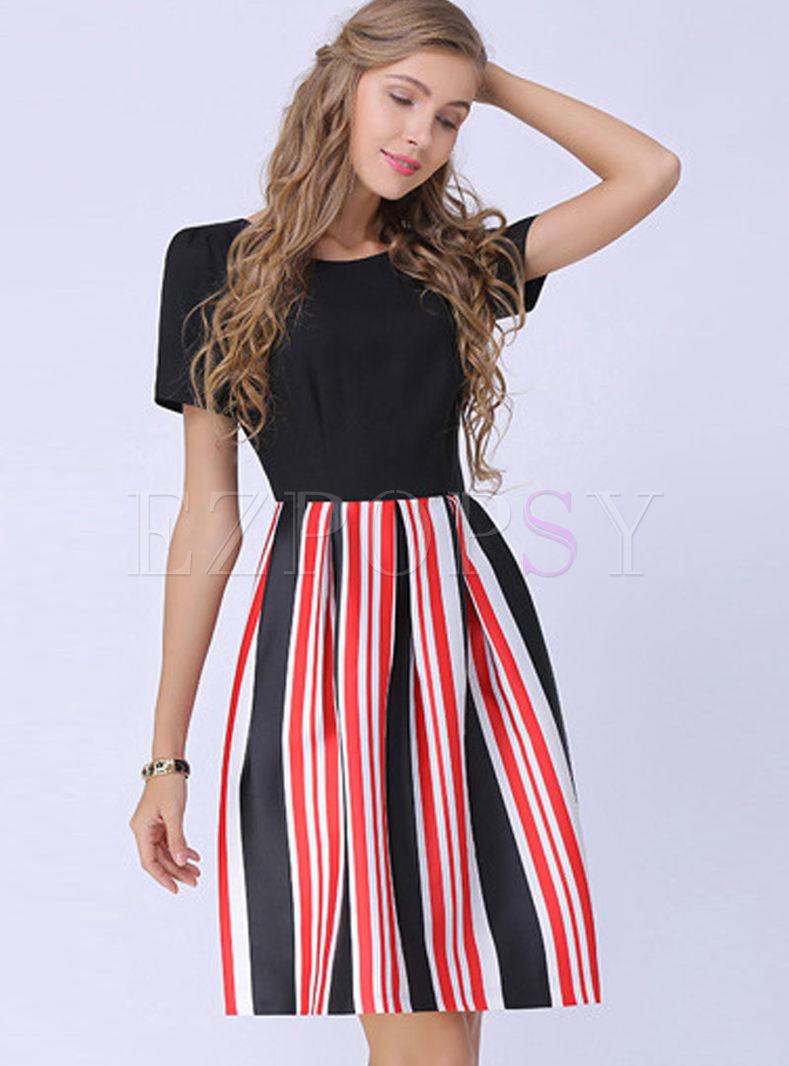 Dresses   Skater Dresses   Street Striped Waist Plus Size Ball Gown