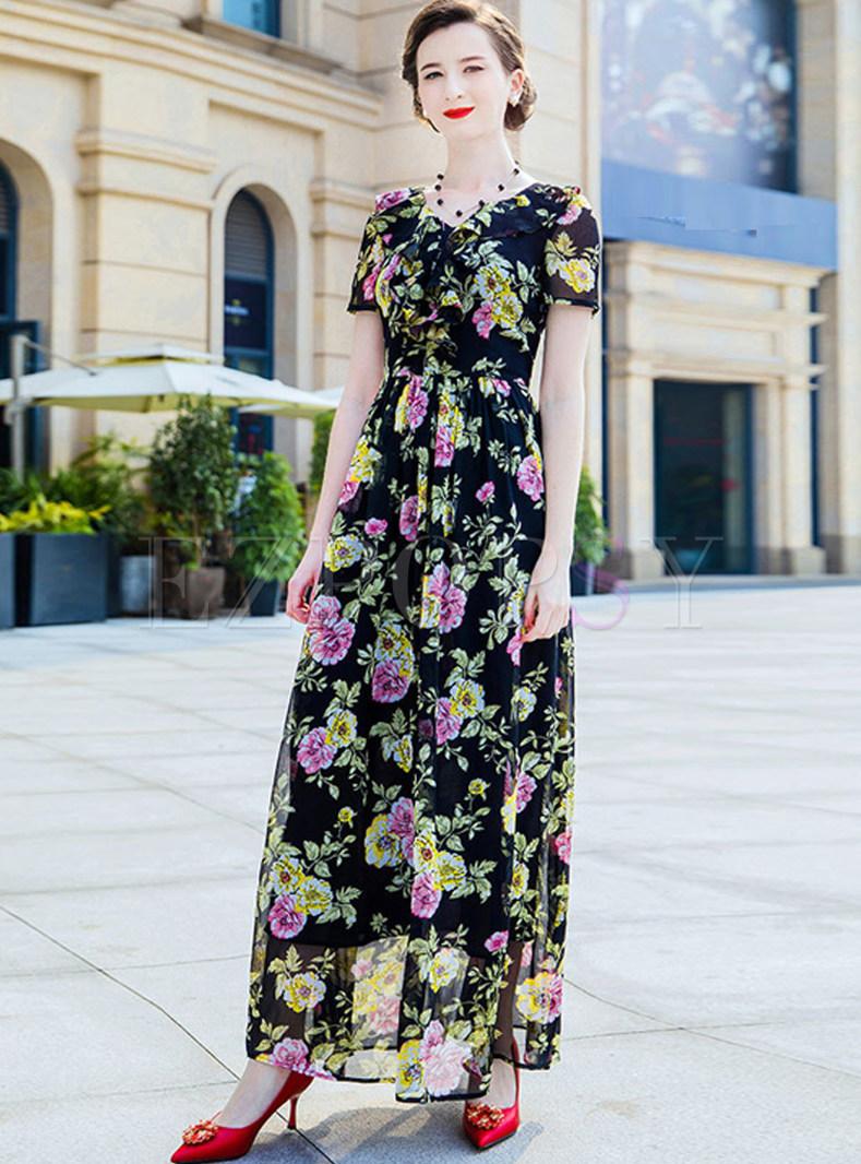 Vintage Flower Print V-neck Maxi Dress