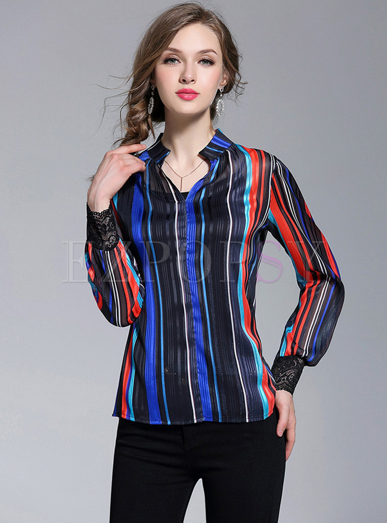 Brief Vertical Striped Blouse