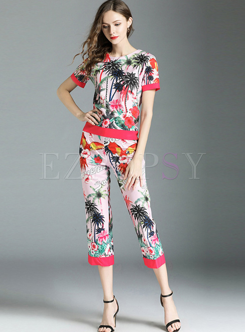 Fashion Print Short Sleeve Two-piece Outfits