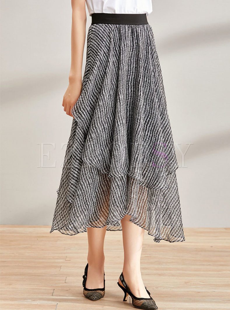 Fashion Black High Waist Asymmetric Flare Skirt