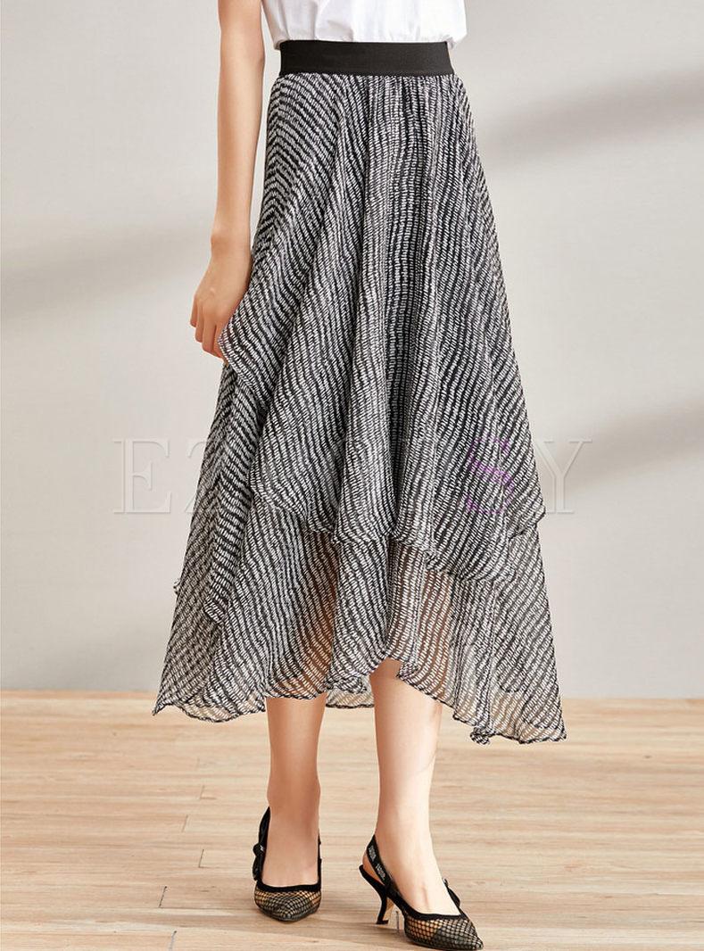 Fashion Black High Waist Asymmetric Flare Skirt