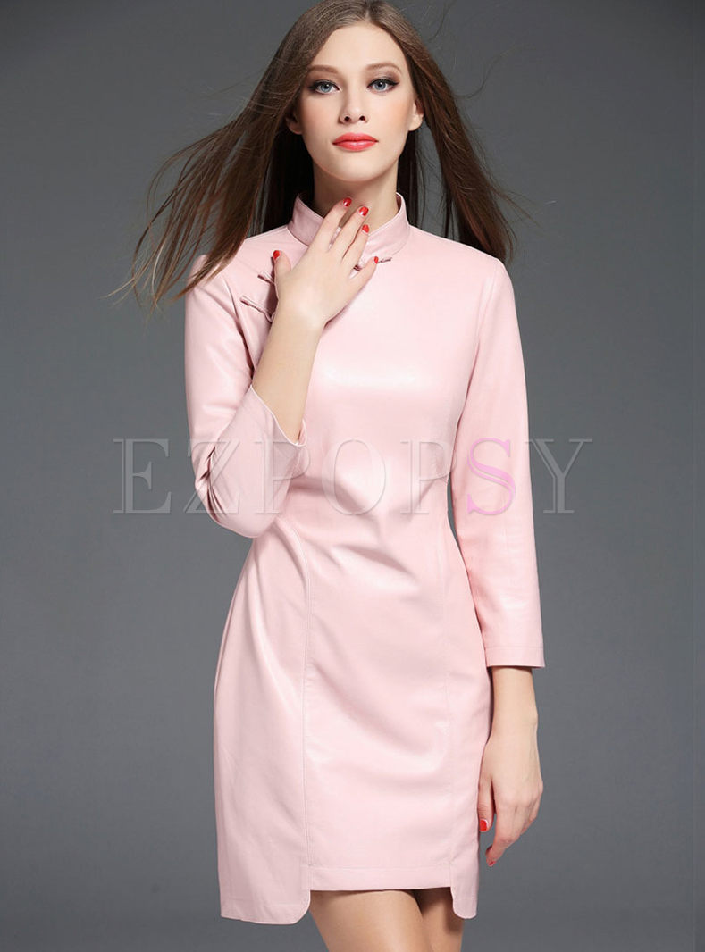 Pink Stand Collar Leather Cheongsam