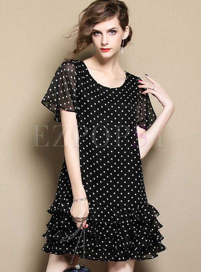Black Casual Dot Print Layered Shift Dress