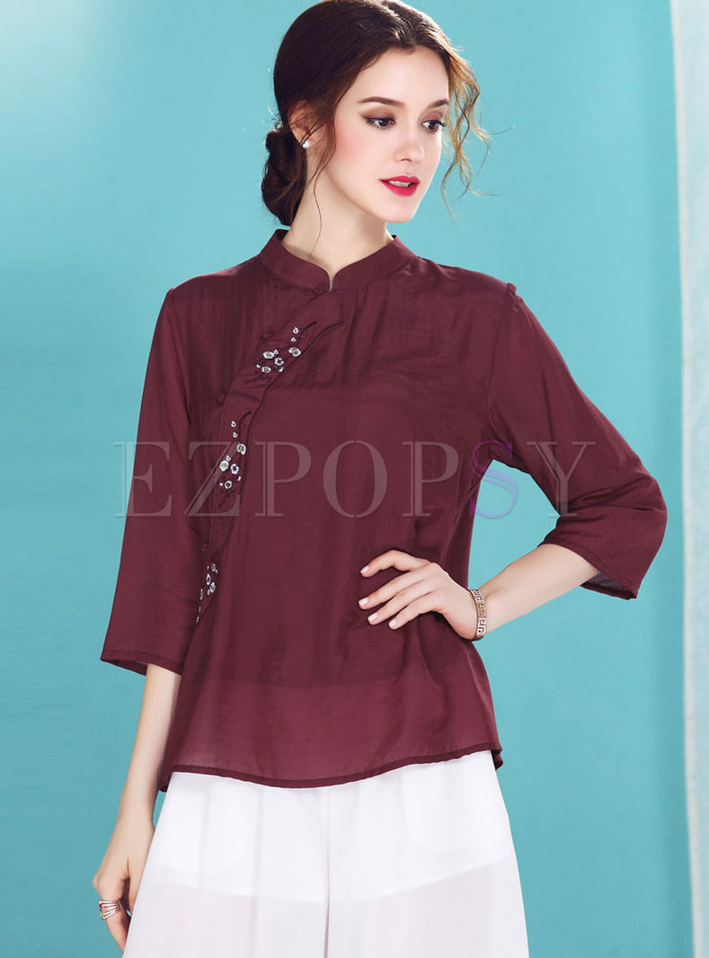Red Ethnic Single-breasted Straight Blouse