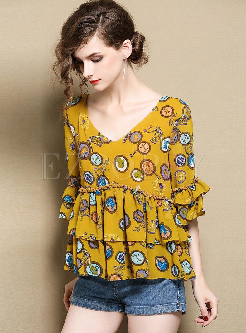 Yellow Chiffon Print V-neck Layered Loose Blouse