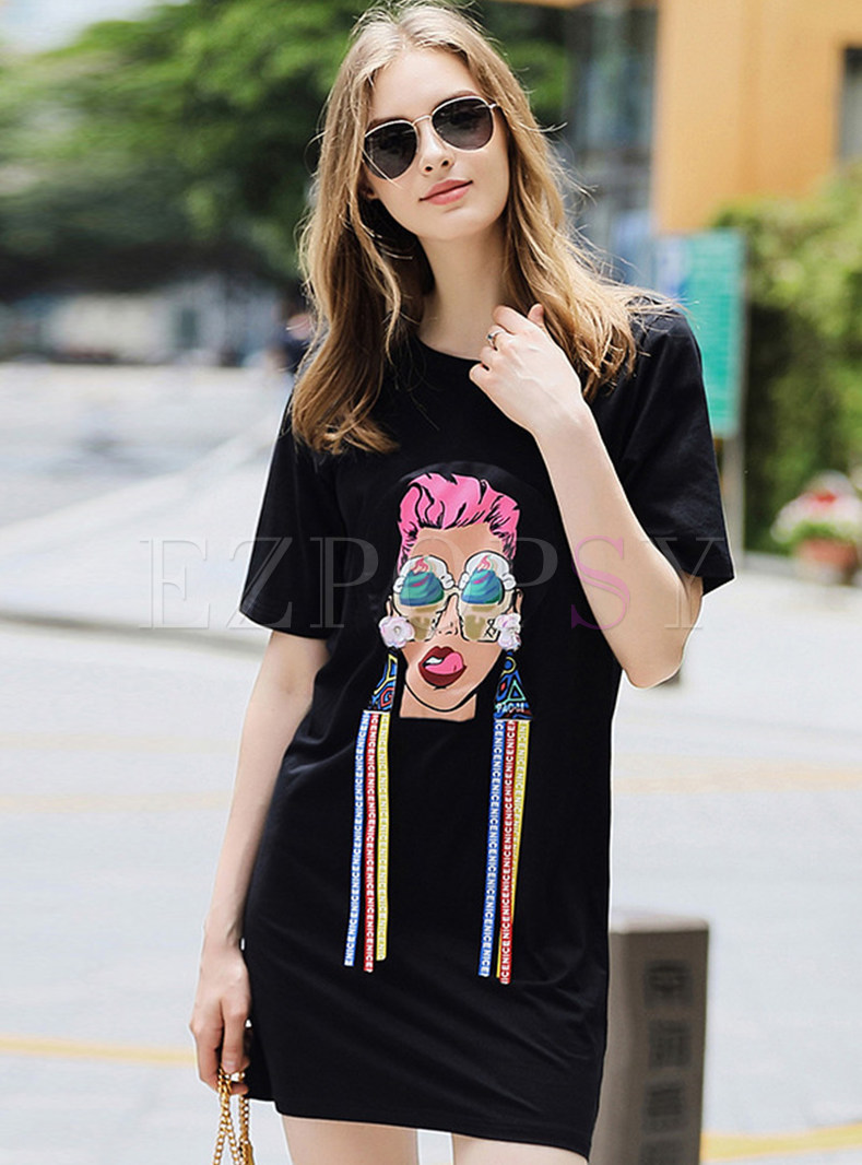 Black Street Sequin Ribbon T-shirt Dress