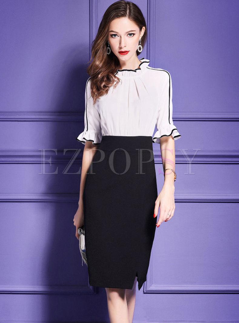 White Falbala High Waist Split Bodycon Dress