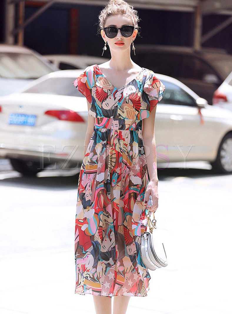 Fashion Chiffon Print High Waist Big Hem Dress
