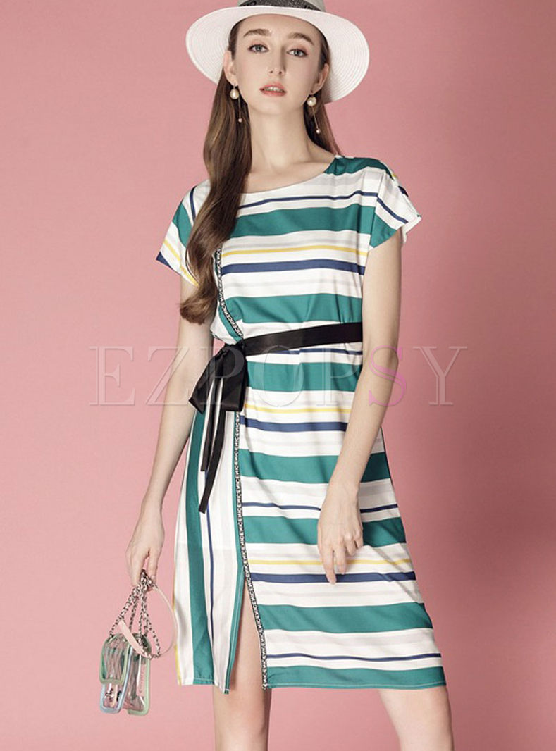 Stylish Striped Belt Split A Line Dress