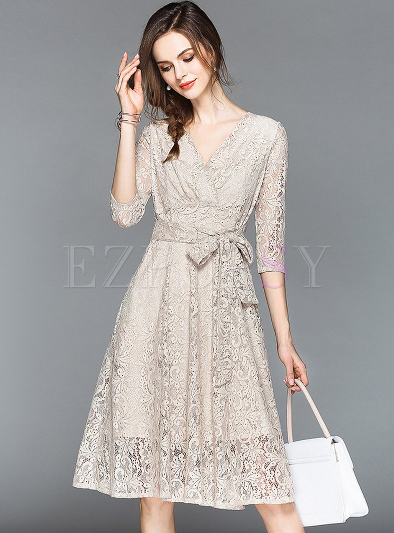 V-neck 3/4 Sleeve Lace A Line Dress