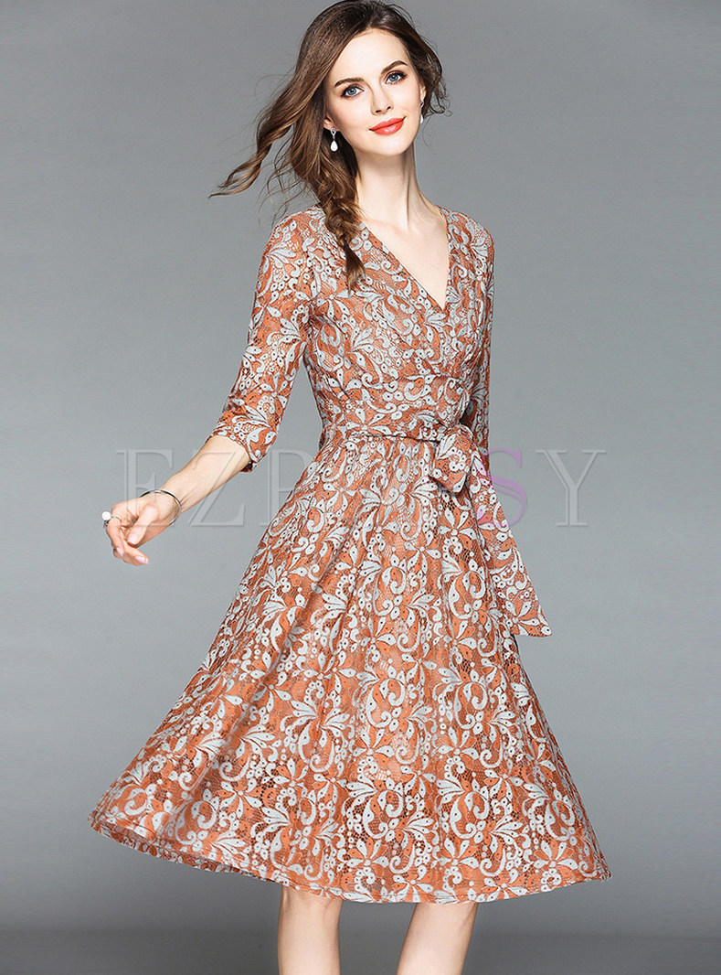 Caramel Chic Bowknot Belted Lace Dress