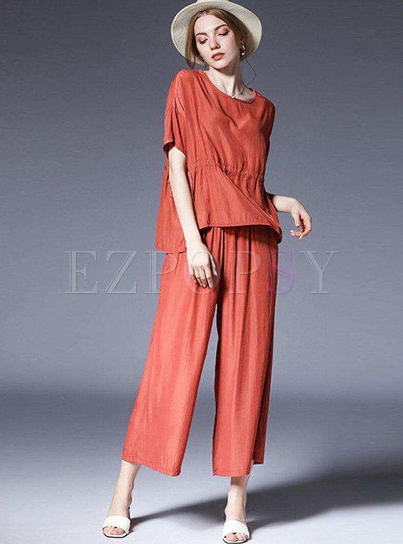 Orange Round Neck Top & Elastic Waist Wide Leg Pants