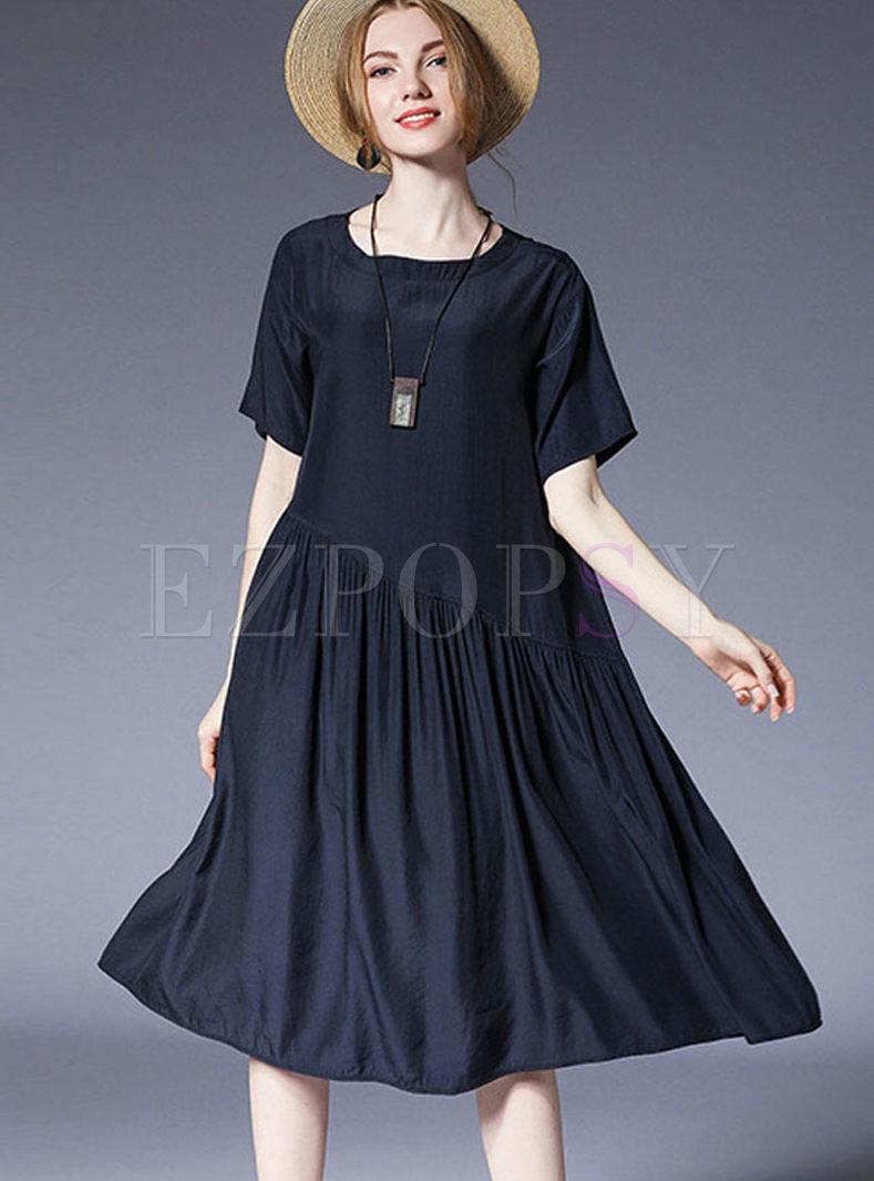Navy Brief Round Neck Plus Size Dress