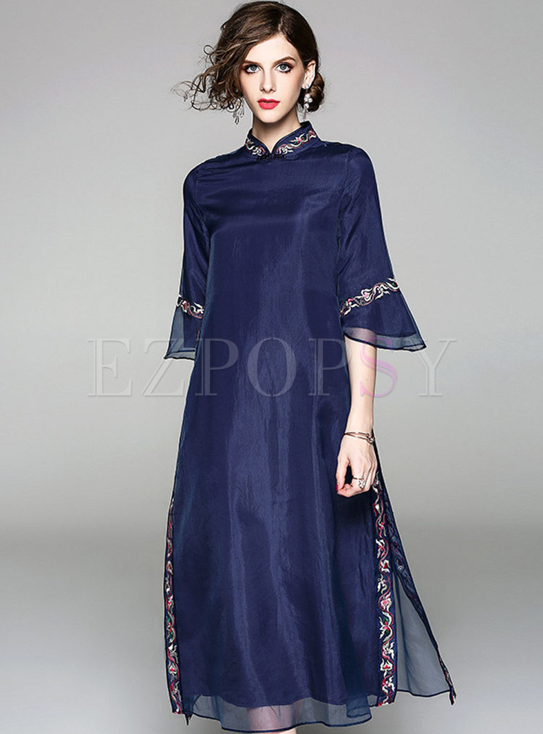 Blue Three Quarters Sleeve Embroidery Dress