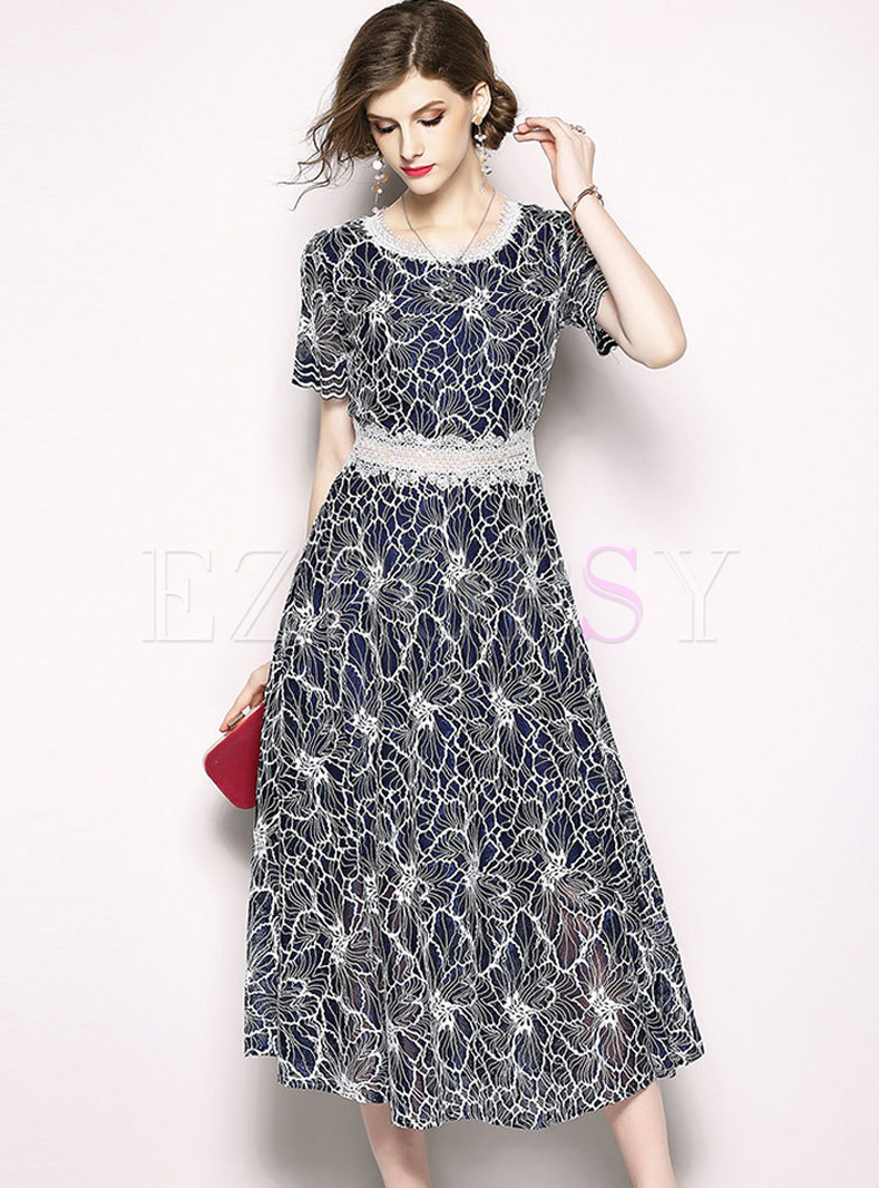 Blue Waist Embroidery Short Sleeve Lace Dress