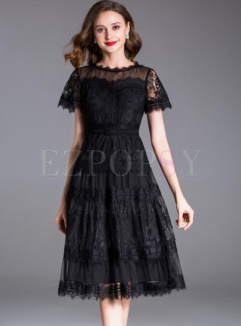 Black Lace Embroidery Waist Midi Dress