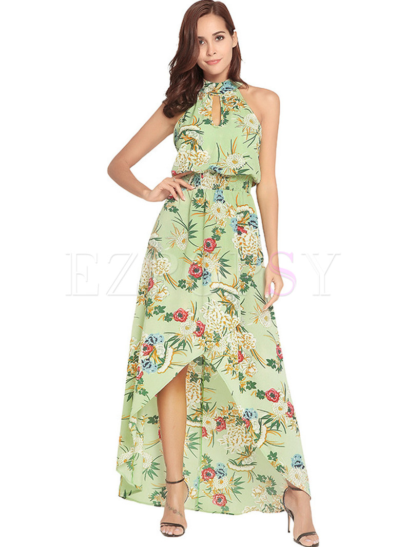 Bohemian Floral Print Asymmetric Hem Maxi Dress