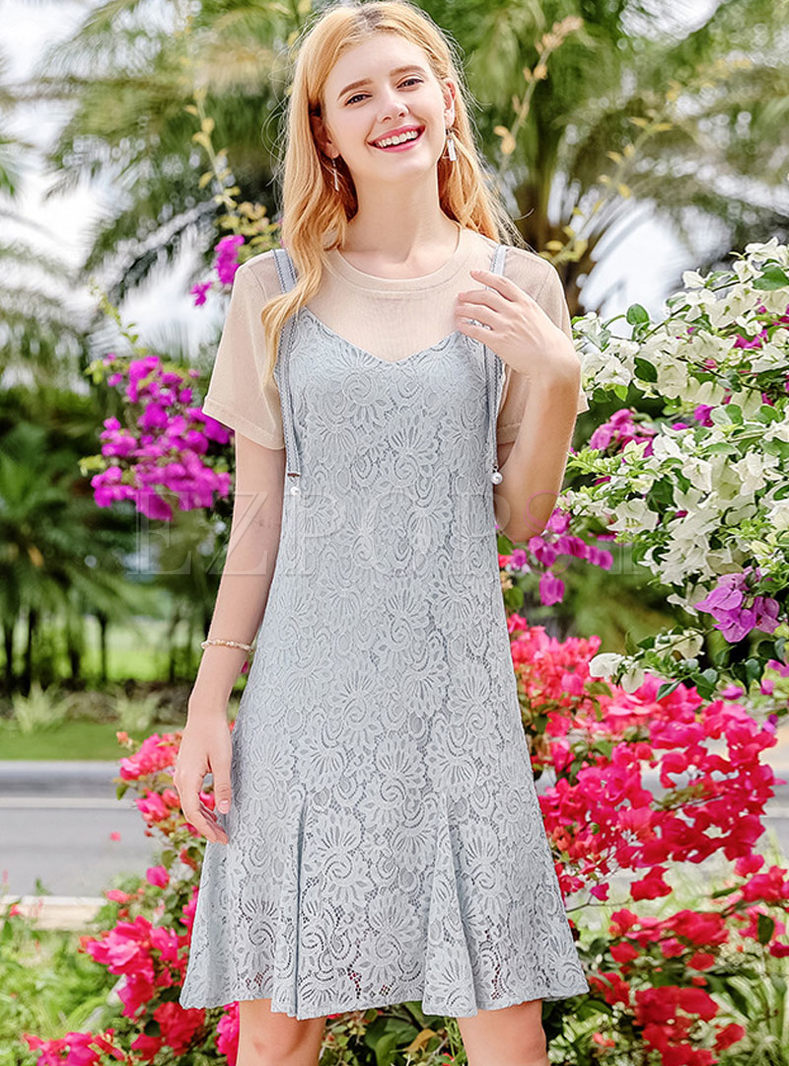 Khaki Casual T-shirt & Light Blue Lace Slip Dress