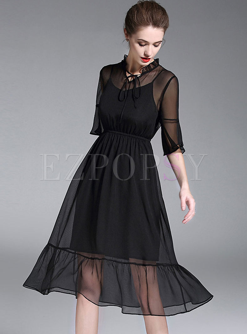 Solid Color Chiffon Tied Three-quarter Sleeve Skater Dress With Slip Dress