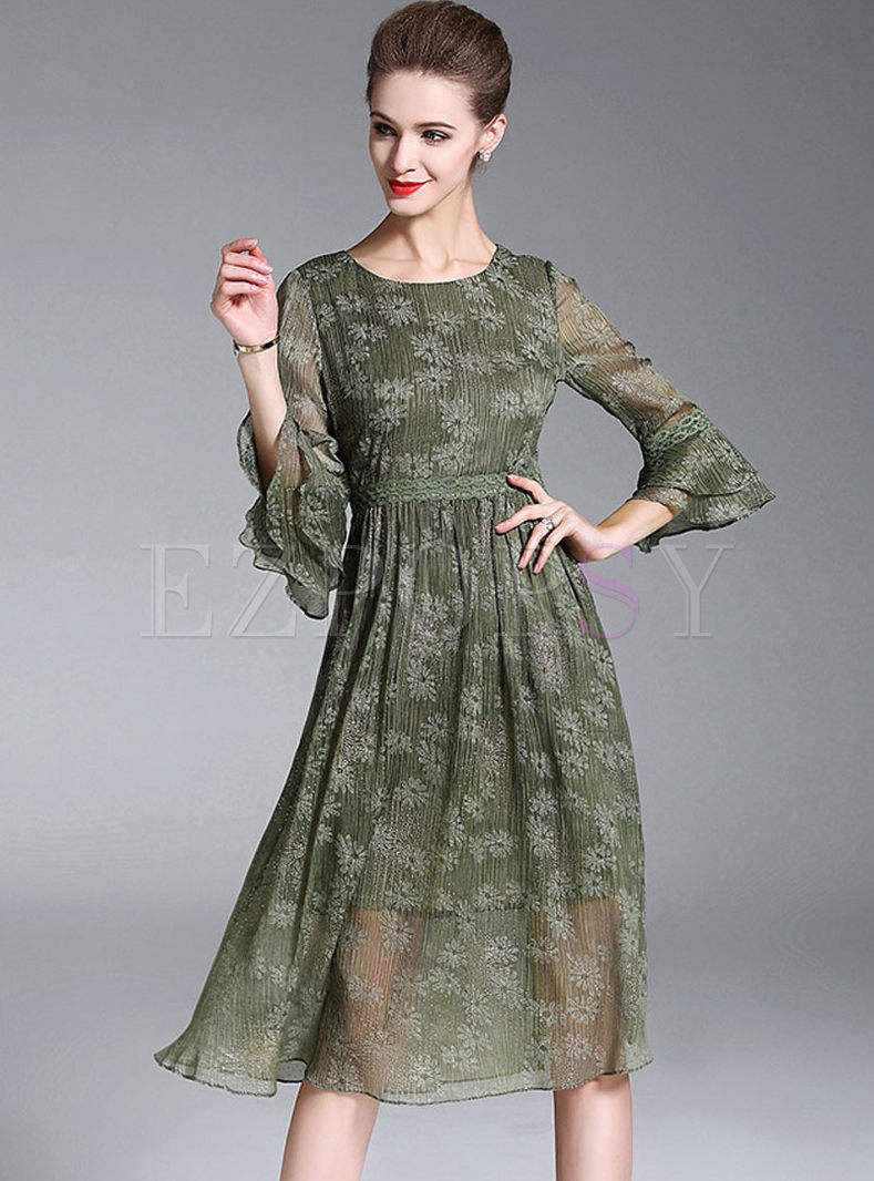 Green Print Three-quarter Sleeve Waist Skater Dress