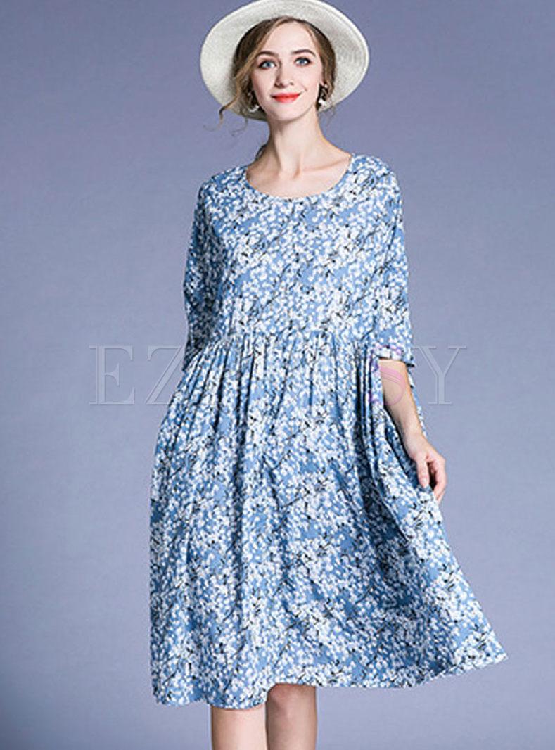 Light Blue Floral Print Cotton Plus Size Shift Dress