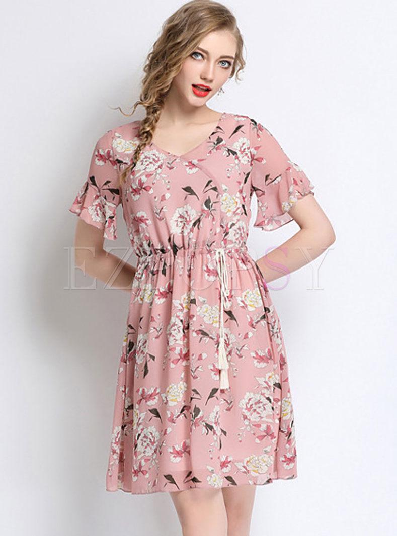 Pink Print Chiffon V-neck Plus Size Skater Dress