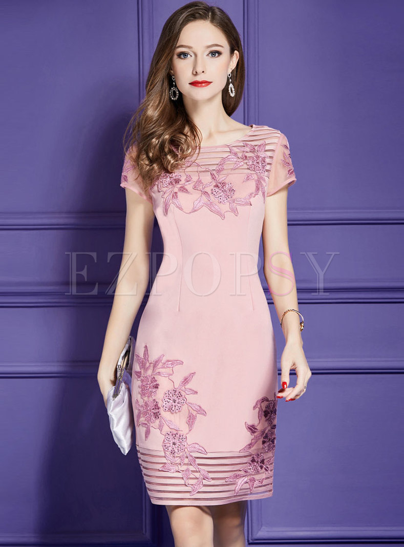 Pink Sequin Embroidery Waist Bodycon Dress