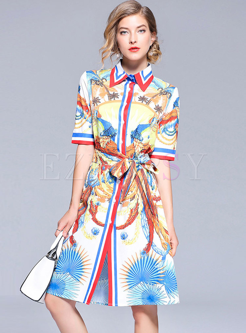 Multicolor Lapel Short Sleeve Shirt Dress