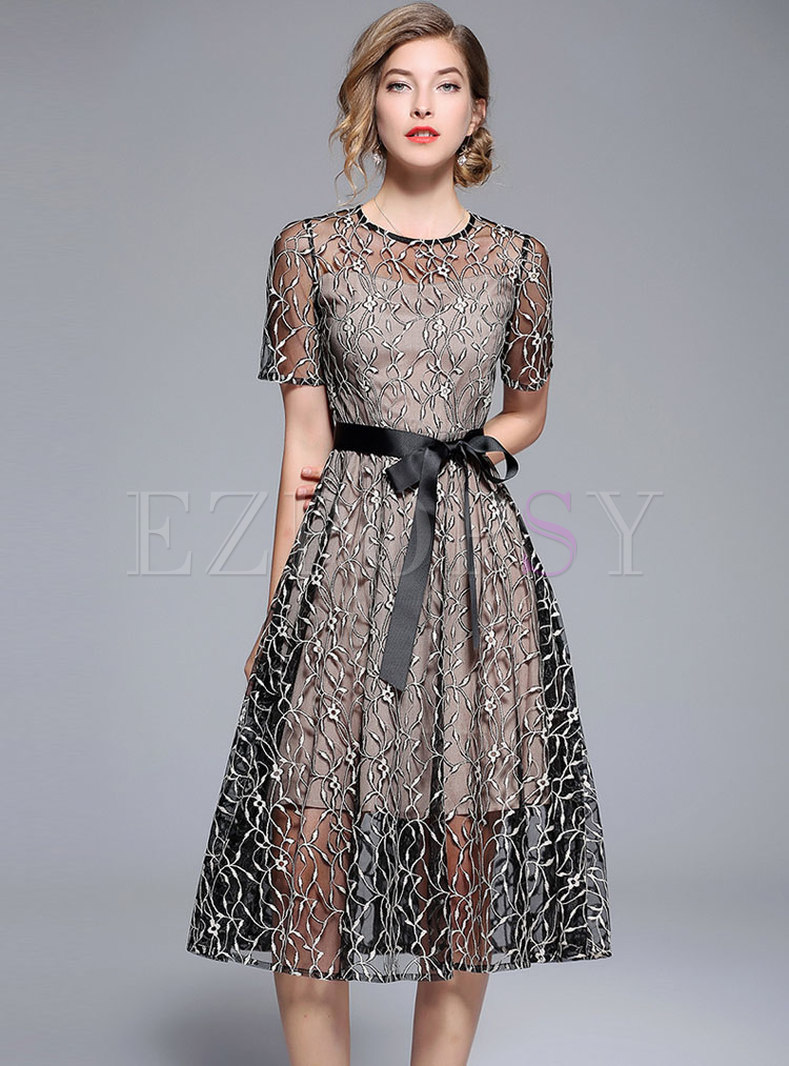 Chic Mesh Embroidery Belted Midi Dress