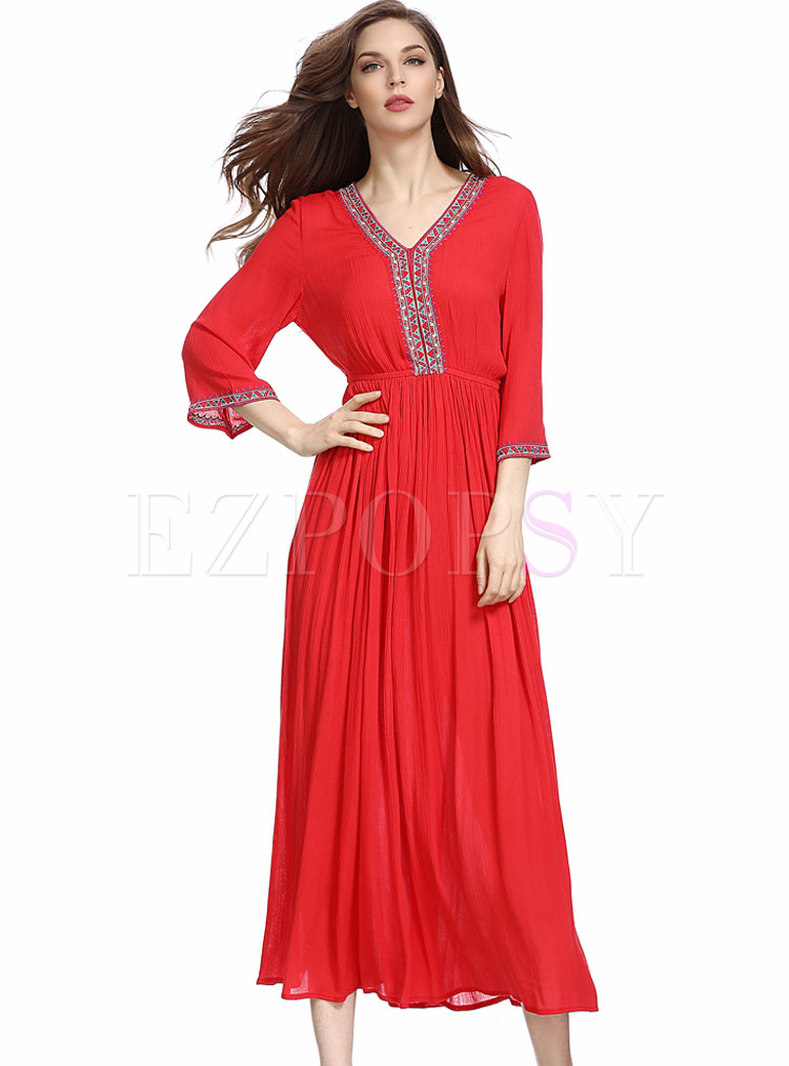 Red V-neck Flare Sleeve Embroidery Maxi Dress