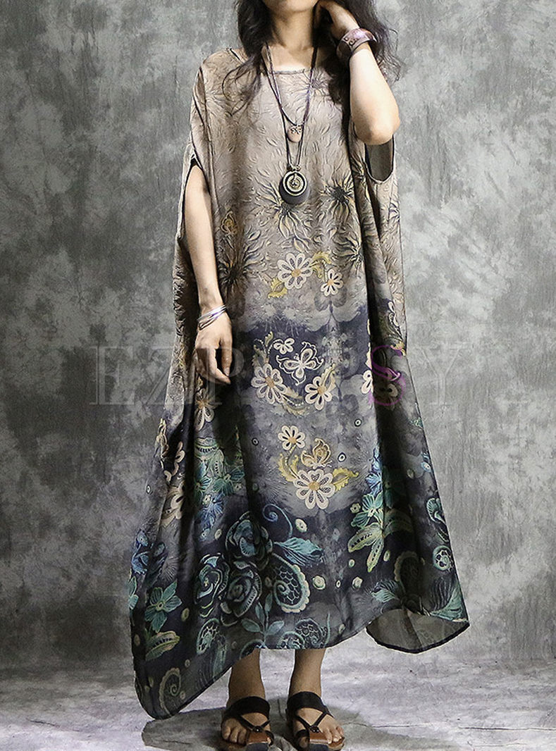 Coffee Ethnic Print Batwing Sleeve Maxi Dress With Tanks