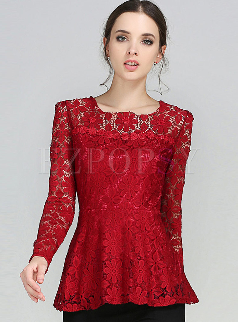 Lace Stereoscopic Flower Embroidery Top