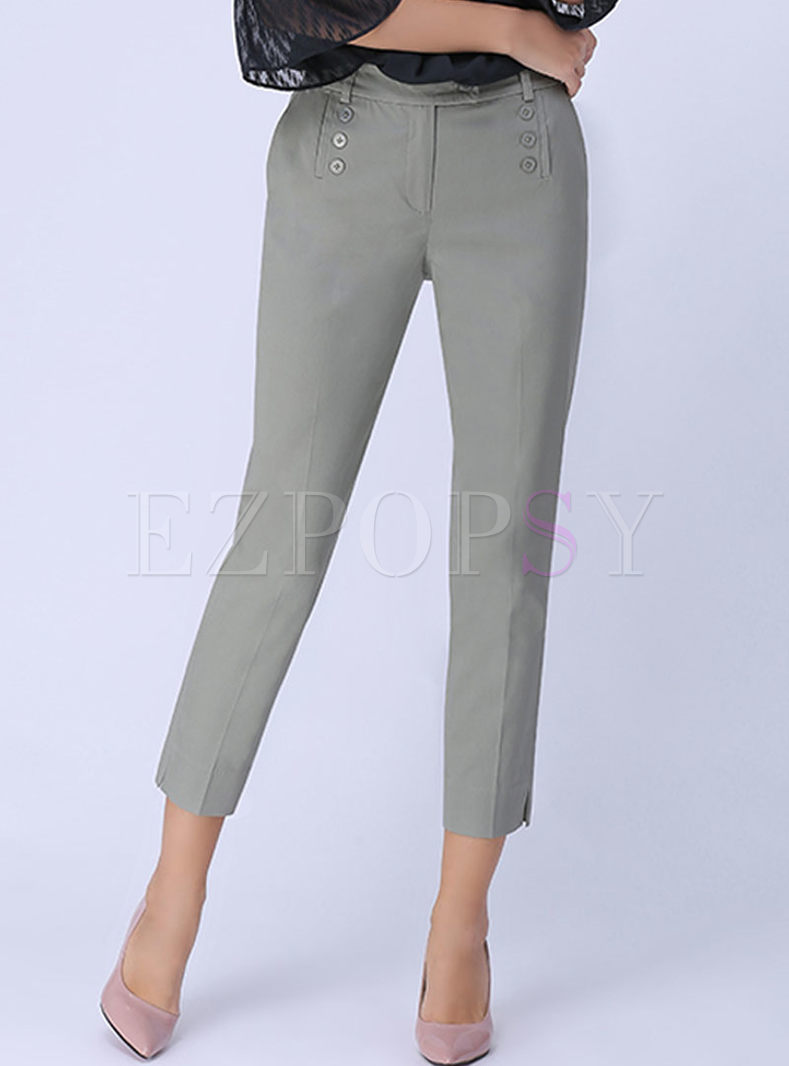 Grey Mid-Rised Straight Plus Size Pants