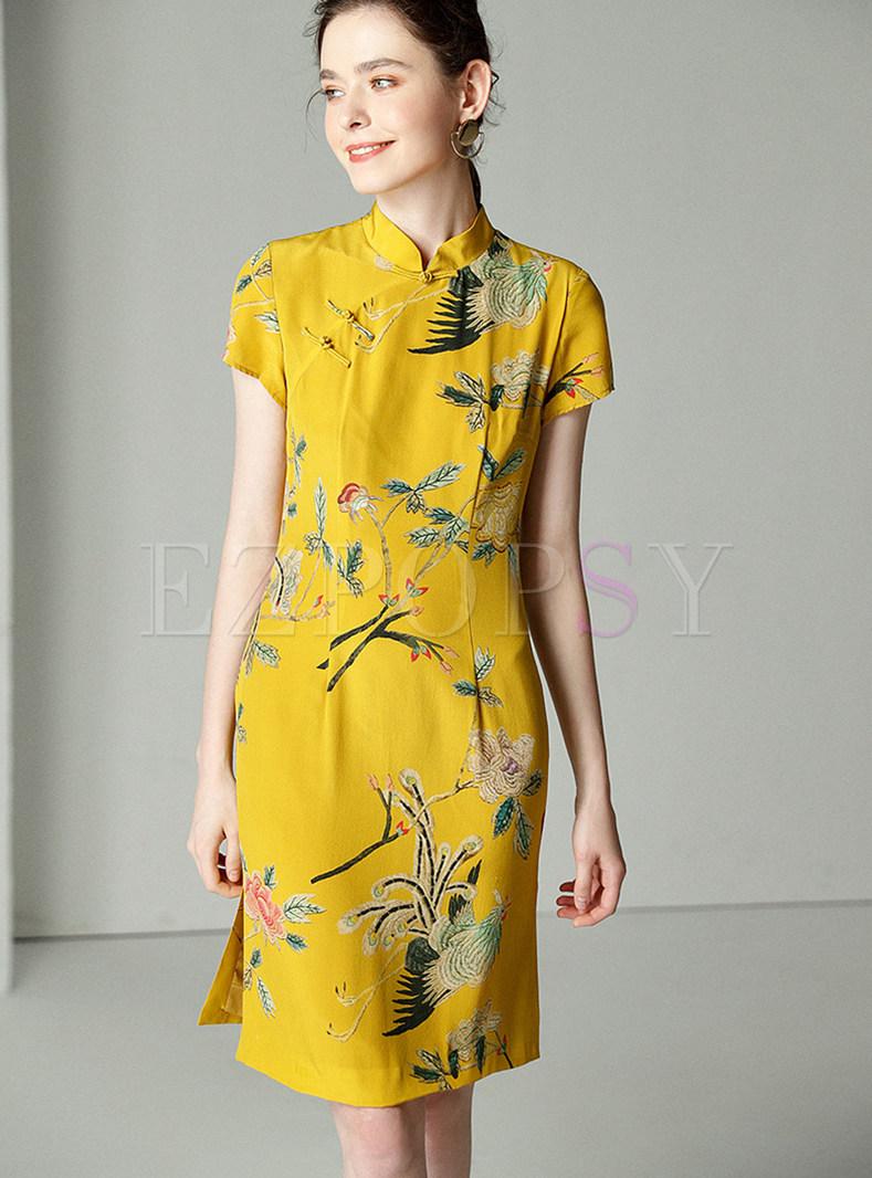 Yellow Elegant Silk Stand Collar Shift Dress