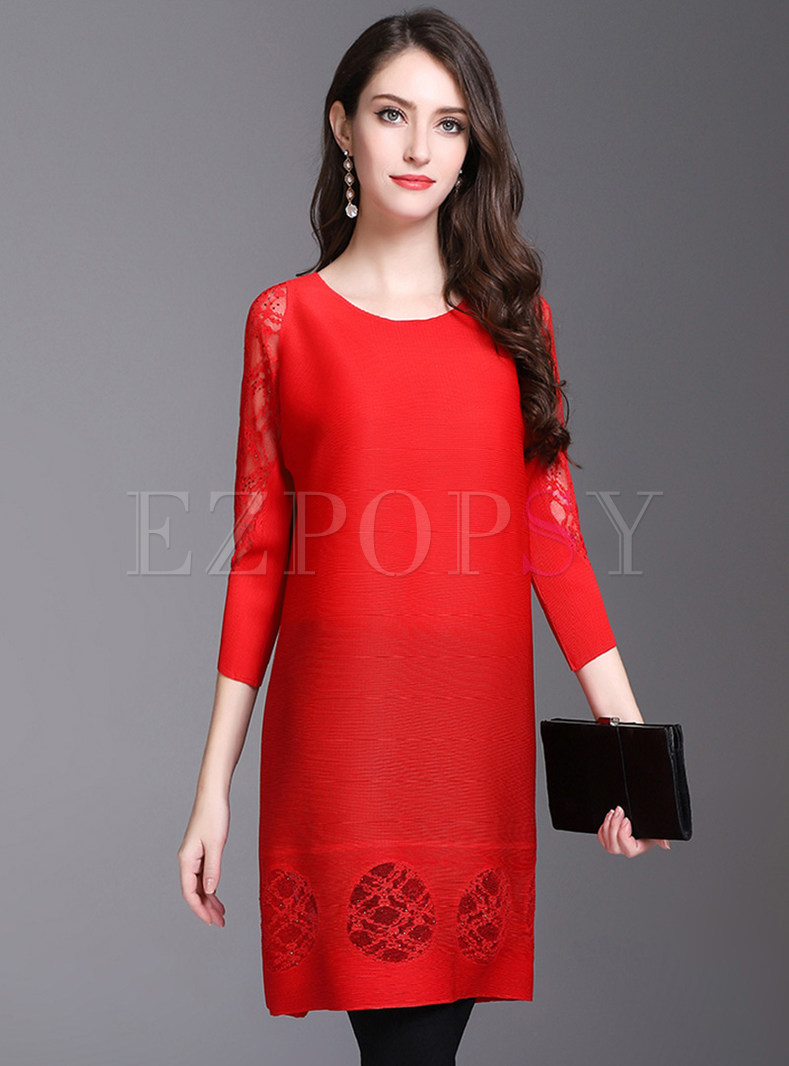 Lace Hollow Out Loose Shift Dress