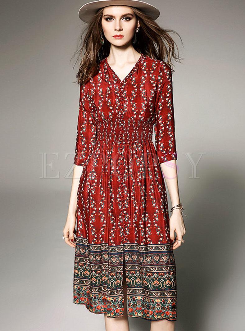 Silk V-Neck Floral Print Split Dress
