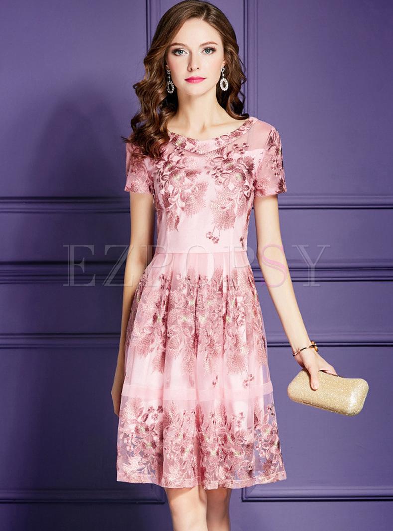Elegant Pink Embroidered A Line Dress