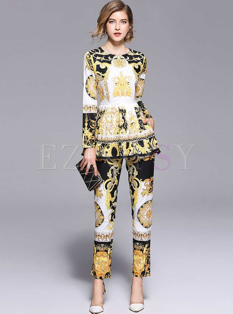 Retro Gathered Waist Print Blouse & Pencil Pants