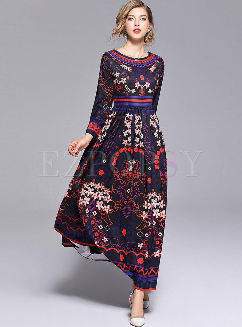 Ethnic Floral Print Big Hem Maxi Dress