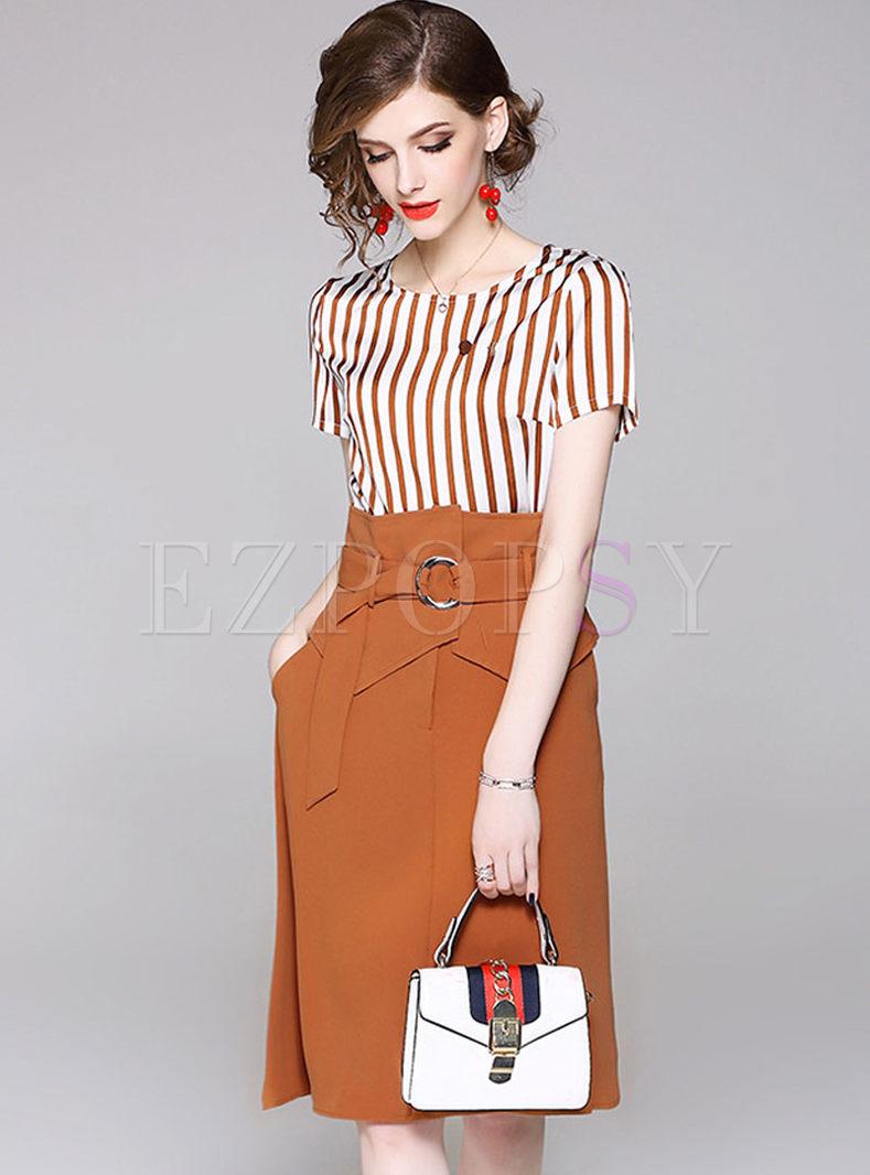 Fashion Short Sleeve Striped Top & High Waist Belted Skirt