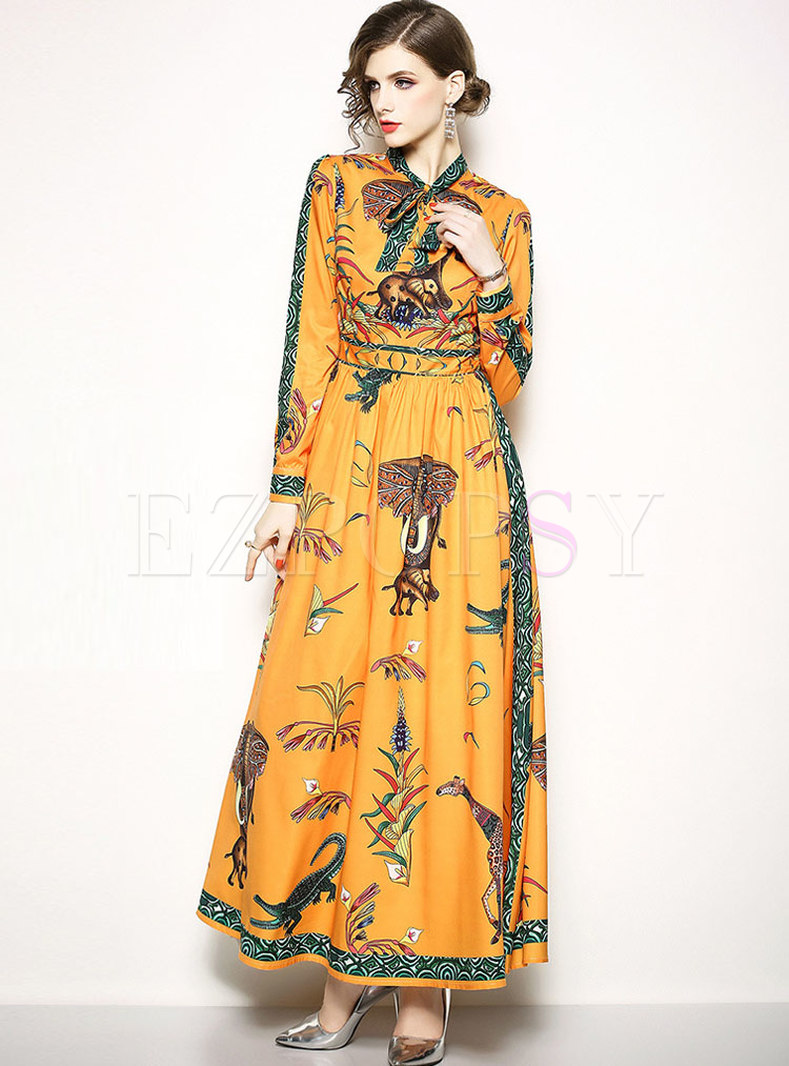 Print Long Sleeve Big Hem Maxi Dress