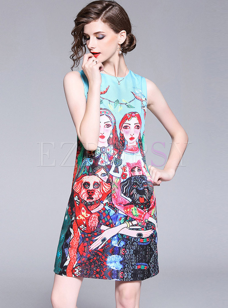 Vintage Figure Print Sleeveless Shift Dress