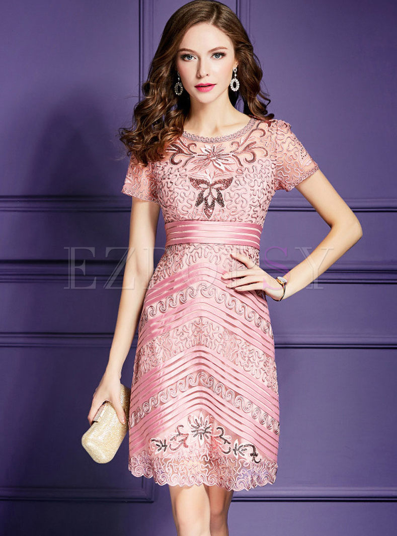 Pink Spangle Embroidery Plus Size Prom Dress