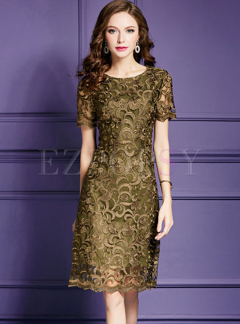 Dark Green High Waist Embroidery Plus Size Dress